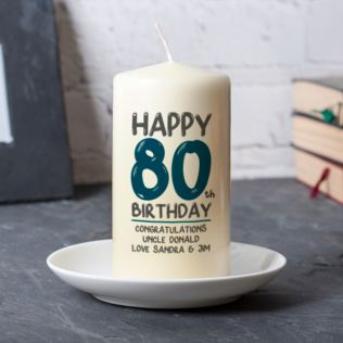 Personalised 80th Birthday Candle Blue Product Image