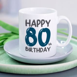 Personalised 80th Birthday Mug Blue Product Image