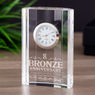 Engraved Eighth Wedding Anniversary Mantel Clock Product Image