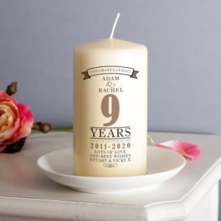 Personalised 9th Anniversary Candle Product Image