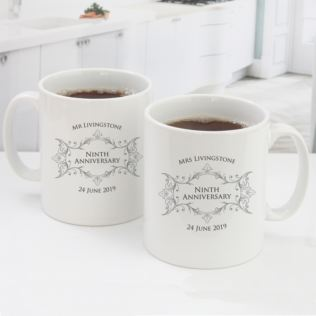 Pair of Personalised Ninth Anniversary Mugs Product Image