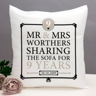 Personalised 9th Anniversary Sharing The Sofa Cushion Product Image