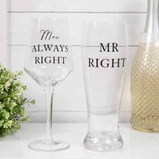 AMORE BY JULIANA® Luxury Beer & Wine Glass Set - Mr & Mrs Product Image