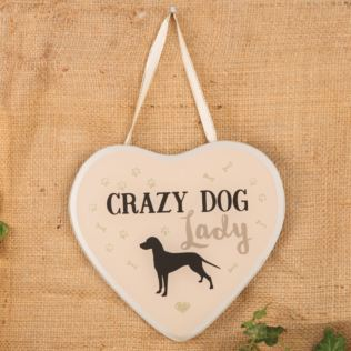 Best of Breed Heart Glass Plaque - Crazy Dog Lady Product Image