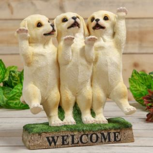Best of Breed Three Labrador Puppies Welcome Ornament Product Image
