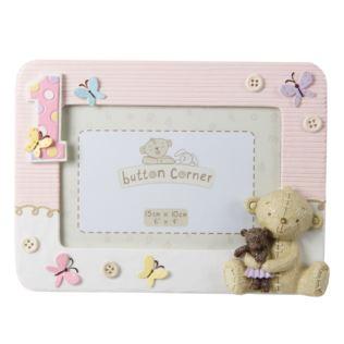 "6"" x 4"" - Button Corner My 1st Birthday Pink Photo Frame Product Image"