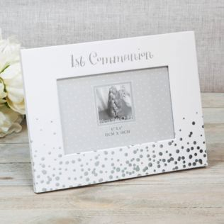 "6"" x 4"" - Silver Dots Photo Frame - 1st Communion Product Image"