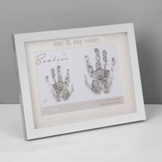 "Bambino Silver Plated Hand Print Frame - Me & My Sister 7x5"" Product Image"