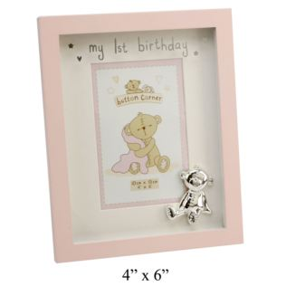 "4"" x 6"" - Button Corner My 1st Birthday Photo Frame - Pink Product Image"