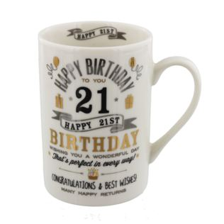 Signography Silver & Gold 21st Birthday Mug Product Image