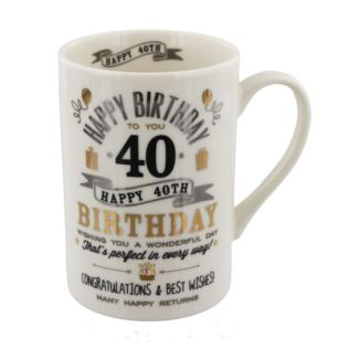 Signography Silver & Gold 40th Birthday Mug Product Image