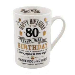Signography Silver & Gold 80th Birthday Mug Product Image