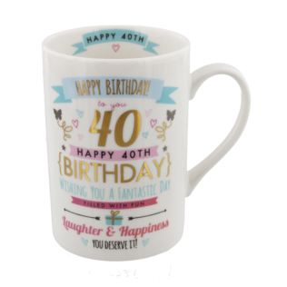 Signography Pink & Gold 40th Birthday Mug Product Image