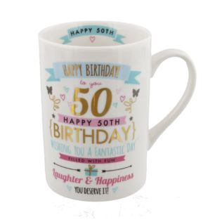 Signography Pink & Gold 50th Birthday Mug Product Image