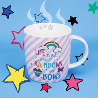 Disney Minnie Mouse Pink Stripe Rainbow Mug Product Image