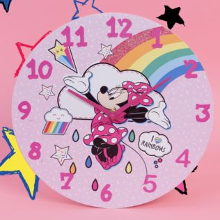 Disney Minnie Mouse Wall Clock - Rainbows Make Me Smile Product Image