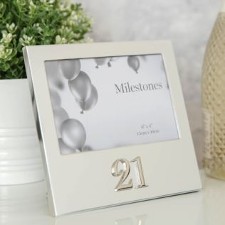 "6"" x 4"" - Milestones Birthday Frame with 3D Number - 21 Product Image"