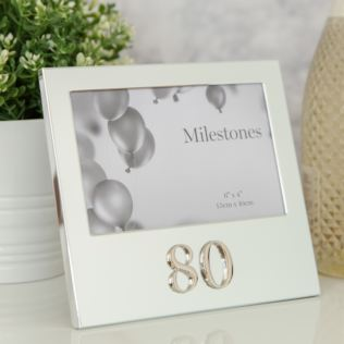 "6"" x 4"" - Milestones Birthday Frame with 3D Number - 80 Product Image"