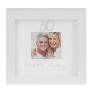"3"" x 3"" - Happy Birthday Box Photo Frame - 50th Product Image"
