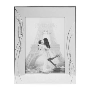 "5"" x 7"" - Silver Plated Wedding Photo Frame with Crystals Product Image"