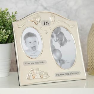 Milestones 2 Tone Silver Plated Double Birthday Frame - 18 Product Image