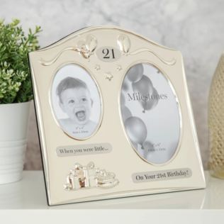 Milestones 2 Tone Silver Plated Double Birthday Frame - 21 Product Image