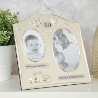 Milestones 2 Tone Silver Plated Double Birthday Frame - 40 Product Image