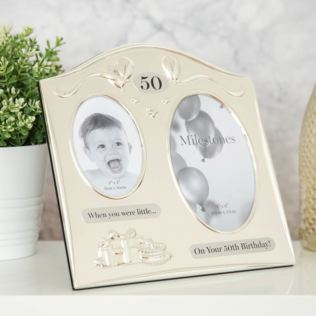 Milestones 2 Tone Silver Plated Double Birthday Frame - 50 Product Image