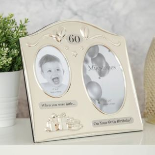 Milestones 2 Tone Silver Plated Double Birthday Frame - 60 Product Image