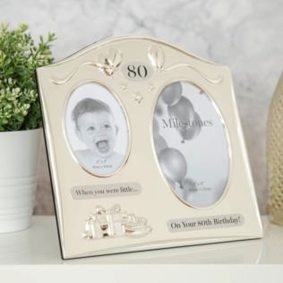 Milestones 2 Tone Silver Plated Double Birthday Frame - 80 Product Image