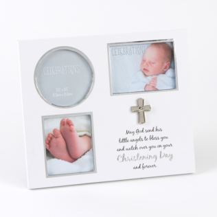 White & Silver Icon Christening Day Triple Frame Product Image