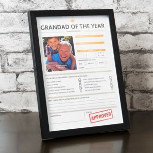 "3"" x 3"" - Hero Frame - Grandad of the Year - Personalisation Product Image"