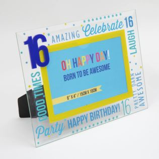 "6"" x 4"" - Oh Happy Day! Glass Photo Frame - Blue 16 Product Image"
