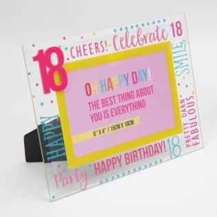 "6"" x 4"" - Oh Happy Day! Glass Photo Frame - Pink 18 Product Image"