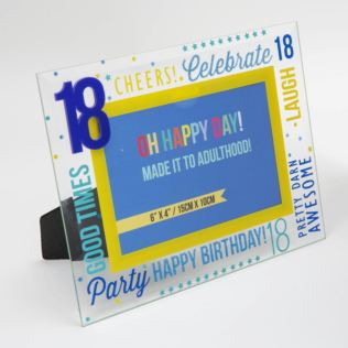 "6"" x 4"" - Oh Happy Day! Glass Photo Frame - Blue 18 Product Image"
