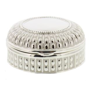 Round Silverplated & Epoxy Trinket Box with Beaded Edge Product Image