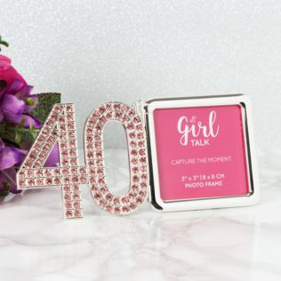 "3"" x 3"" - Girl Talk Pink Crystal Frame - 40 Product Image"