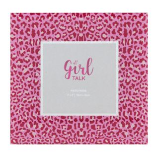 "4"" x 6"" - Girl Talk Glass Pink Leopard Print Photo Frame Product Image"
