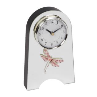 Sophia Pink Crystal Dragonfly Glass Mantel Clock Product Image