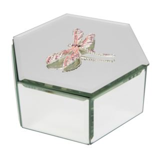 Sophia Pink Crystal Dragonfly Glass Trinket Box Product Image
