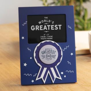 "4"" x 3"" - World's Greatest Dad Rosette Photo Frame Product Image"