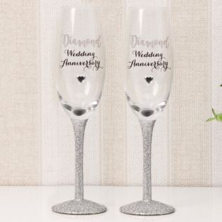 Celebrations Champagne Flutes Set of 2 - Diamond Anniversary Product Image
