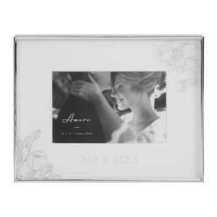 "6"" x 4"" - Silver Foil Floral Detail Frame - Mr & Mrs Product Image"