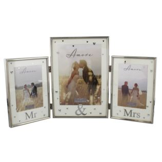 Amore Silver Plated Triple Photo Frame - Mr & Mrs Product Image