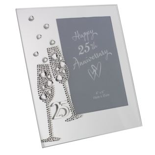 "4"" x 6"" - 25th Anniversary Glass Photo Frame Product Image"