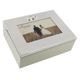 "Amore Silver Plated Wedding Keepsake Box - 6"" x 4"" Product Image"