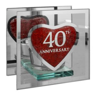 Glass Tealight Holder - 40th Anniversary Product Image