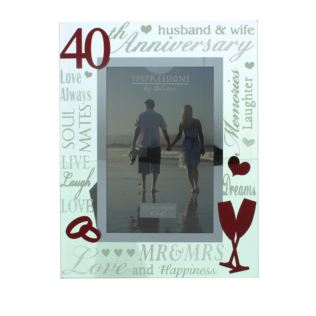 "4"" x 6"" - Mirror Glass & Glitter Frame - 40th Anniversary Product Image"