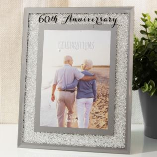 "5"" x 7"" - Celebrations Crystal Frame - 60th Anniversary Product Image"