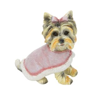 Dog with Pink Coat Hanging Tree Ornament Product Image